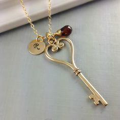 Personalized Necklace, Heart Key Necklace, Birthstone Initial Jewelry, Garnet Jewelry, January Birthstone, Birthday Gift, Mother Gift, Ston. $42.00, via Etsy.