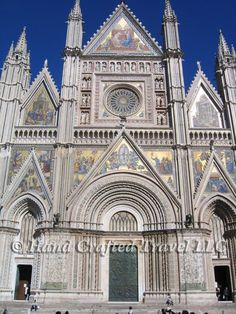 Travel Picture: Day 189. The façade of Orvieto cathedral, in Orvieto Italy. Located just an hour north of Rome, Orvieto belonged to the Papal lands throughout the Middle Ages. The highlight of the cathedral is the stunning Apocalypse cycle of frescos in the San Brizio Chapel, painted by Luca Signorelli.