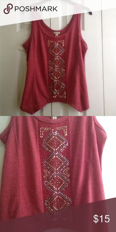 Embellished tank MD EUC.  Cropped tank top with center panel embellishments made up of lace, flat studs, and metallic stones/bars. perfect with pair of jeans or as a layering tank.    💸 Reasonable offers considered.  ↘️ Use OFFER button.   🚫 NO TRADES! ⚡️Fast Shipper! Eyeshadow Tops Tank Tops