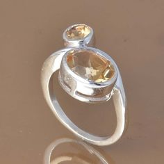 CITRINE CUT 925 SOLID STERLING SILVER EXCLUSIVE RING 4.49g DJR7480 #Handmade #Ring