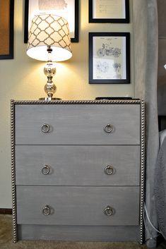 IKEA RAST nightstand hack - an easy DIY upgrate using nailhead trim and paint. Ikea Hack via Simplicity & Coffee | Life + Style Blog