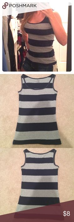 Old Navy tank top Navy and grey Old Navy tank top. Listed as medium but I'm a small and it fits me nicely. Would also fit a medium well since the fabric is kinda stretchy. Nice casual item to have in the closet year round. Great for summer with a pair of shorts and pairs well with a cardigan and jeans for cooler months. Perfect condition! Old Navy Tops Tank Tops