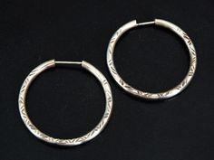 Ladies Vintage Hand Engraved Sterling Silver Classic Hoop Wedding Earrings FREE POSTAGE Included by GloryBeVintageWares on Etsy