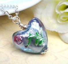 Venitian Murano Glass Heart Silver Pendant by Kikiburrabeads, $27.00