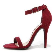 Anne Michelle Enzo 01N Wine Suede Single Strap Heels ($26) ❤ liked on Polyvore featuring shoes, pumps, heels, red, high heel stiletto pumps, stilettos shoes, red heel shoes, high heels stilettos and anne michelle pumps