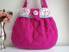 Cerise  cotton Handbag - quilted handbag - handmade - gift - girls - women…