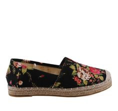 211c5c8b7a7 TOP WAY Black Floral Canvas Espadrilles. Γυναικεία μαύρα floral υφασμάτινα  παπούτσιa.
