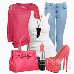 Pink sweater, white blouse, jeans, handbag . I'd fall down in the shoes. Let's do pink Uggs.
