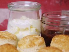 Scones are a simple and delicious English teatime treat. This classic version tastes great on its own or with clotted cream and jam. British Scones, Cinnabon, Brunch, British Baking, Clotted Cream, Fun Cup, The Dish, Tray Bakes, Afternoon Tea