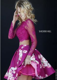 Sherri Hill 32323 Lace Crop Top with Floral Print Skirt