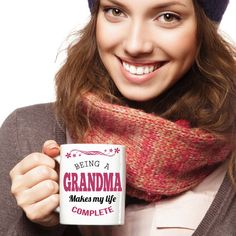 Being a Grandma Makes My Life Complete Coffee Mug  *11oz Mug  *Same Print on each side  *Dishwasher and microwave safe Ceramic Mug  *Your Coffee Cup will be Printed and shipped from the USA  *The highest quality printing possible is used. Your Ceramic Mug will never fade no matter how many times you wash it.  ***** Grandma coffee mug, great gift for Grandma