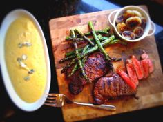 Grilled Sirloin and Asparagus with Balsamic GlazedCipollini Onionsand Blue Cheese Polenta