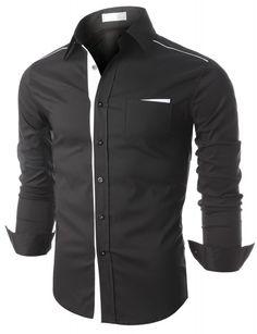 Doublju - Camisa Masculina Slim Black n White (KKMTSTL0161) Compre roupas de qualidade, com design inovador e preço justo!