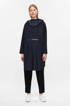 COS image 1 of Oversized poncho jacket in Navy