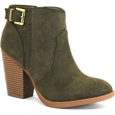 Soda Women's West Olive - 7 M Women's Shoes ($35) ❤ liked on Polyvore featuring shoes, boots, mult, buckle boots, lace up boots, soda boots, high heel platform shoes and platform shoes