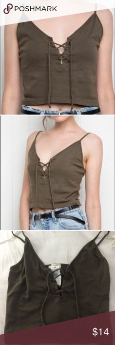 Olive Green Bethany Lace Up Tank Top NWT Brandy Melville Tops Crop Tops
