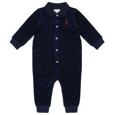 6fda0a6a Ralph Lauren Baby Boys Navy Velvet Polo Shirt Style Baby Grow Baby Baby Boys,  Long Sleeve, Without Feet , Plain, @ Chocolate - Luxury childrenswear for  all ...