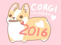 Our+2016+corgi+calendar+features+14+all+new+corgi+artworks+(12+months+a+cover+and+a+bonus)!+Again+this+year+I+hand+drew+and+wrote+the+entire+calendar+including+the+grid+and+dates+for+an+even+cuter+year!  This+ad+is+for+one+2016,+12+month+corgi+calendar+professionally+printed+on+80lb+semi-gloss+...
