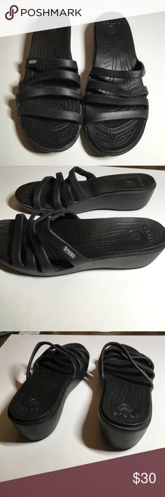 9d0d45cc06bd4 Black Crocs Sandal Wedges These are nice casual comfortable shoes to wear  anywhere! Wedge is