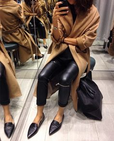 débora rosa | Mango Belted Camel Coat + Zara Faux Leather Biker Trousers with Zips + Mango Crocs Pointy Loafers + Celine Shopper Bag