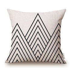 Elviros Cotton Linen Home Decorative Throw Pillow Case Cushion Cover for Sofa Couch, Black Geometric Lines, x White Throw Pillows, Throw Pillow Cases, Cushion Covers, Pillow Covers, Cushion Pillow, Pillow Fabric, Linen Fabric, Geometric Pillow, Geometric Lines