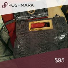 """Micheal kors snake skin grey black Handbag with gold tone handbag and wallet """"the brown walleye is not for sale it's selling on a site for 150 Micheal kors  Bags Travel Bags"""