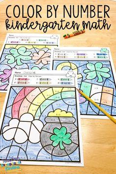 Patrick's Day Color by Number Kindergarten Math Worksheets Kindergarten Colors, Numbers Kindergarten, Kindergarten Math Worksheets, Kindergarten Classroom, Math Resources, Number Worksheets, Printable Worksheets, Printables, Color By Number Printable