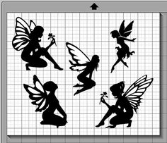Fairy Silhouette Collection - SVG, PNG, and Silhouette Cameo / Portrait Studio Die Cut File, Instant Download