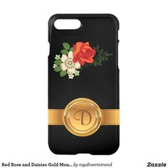 Red Rose and Daisies Gold Monogram Name iPhone 7 Plus Case