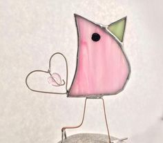 Cotton-Candy Pink Stained Glass Scrappy Bird