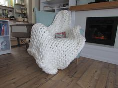 Paturica giganto Off White 120x120 - chunky knit blanket <3