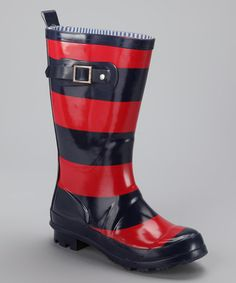 Red & Blue Rugby Stripe Rain Boot by Tommy Hilfiger on #zulily today!