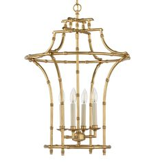 """Golden Bamboo Pagoda Lantern Tradition lightens up with this golden bamboo lantern in a pagoda shape. With 4 lights and larger size, you can even use it over a small dining table. 4x60 watts. (28""""Hx20""""W"""