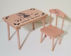 "VTG 1950s LITTLE BO PEEP Doll Pink Wood Table Set for 15-16"" Dolls Miniature Furniture, Doll Furniture, Little Bo Peep, Wood Vanity, Vintage Country, Bubblegum Pink, Made Of Wood, Wood Table, St Kitts"