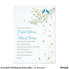 Love Birds Wedding Invitation Blue & Greens