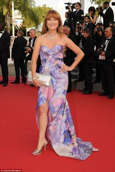 Jane Seymour showed a tasteful amount of leg at the Cannes Film Festival opening red carpet in a Gustavo Cadile Fall 2015 floral strapless gown