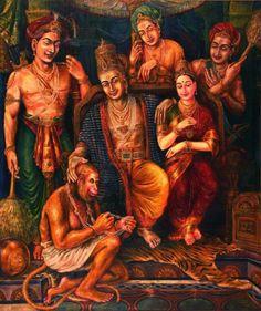 Keshav's Sri Rama pattabhishekam: Sita gifts her precious jewel to the most deserving one, Hanuman. (Oil on canvas, Om Namah Shivaya, Shri Ram Photo, Shri Ram Wallpaper, Rama Lord, Lord Rama Images, Lord Hanuman Wallpapers, Ram Photos, Hanuman Images, Lakshmi Images