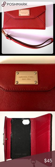 Gorgeous Red Michael Kors iPhone 5/5s Wristlet Gorgeous, red Michael Kors wristlet with gold accents-- case for iPhone 5/5s and has 3 credit card slots. Used a handful of times, in Like New condition! ❤️ Michael Kors Accessories Phone Cases