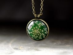 GREEN Real dried flowers necklace