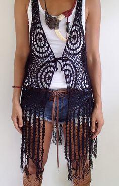 Bohemian Webbed Crochet Long Vest with Fringe. Black by SpellMaya