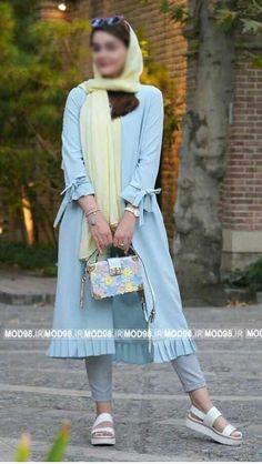 Manto street style scarf shoes Lee Girl beauty beautiful woman fashion show glas. Abaya Fashion, Muslim Fashion, Fashion Outfits, Womens Fashion, Fasion, New Dress Collection, Iranian Women Fashion, Womens Dress Suits, Mode Hijab