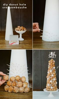 Who says your dessert table has to be crazy expensive? Use this clever tip to create your very own donut hole display. Don't forget the cute topper, we have plenty to choose from in our shop. Get yours now. #PSWeddingsAndEvents #Donuts #DIY #Desserts