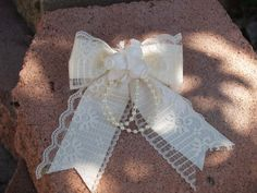 Girls Ivory Bow Lace pearls and satin ribbon 047 by CecysChildren