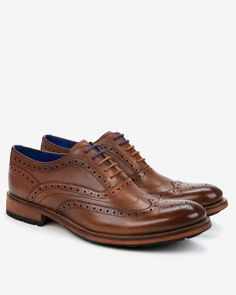 $240, Brown Leather Brogues: Ted Baker Guri7 Leather Oxford Brogues. Sold by Ted Baker. Click for more info: https://lookastic.com/men/shop_items/295454/redirect