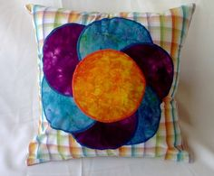 Large Bright Flower Pillow Cover 14 X 14 Purple by debupcycles, $24.00