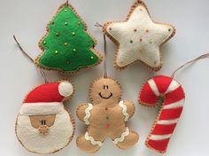 Fabric Christmas Decorations, Felt Christmas Ornaments, Christmas Fabric, Handmade Christmas, Christmas Crafts, Christmas Cookies, Felt Doll Patterns, Candy Cane Ornament, Diy Garland