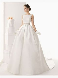 White Ball Beading Sash Satin 2014 Wedding Dresses