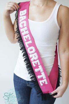 #DIYwedding ~ don't settle for the half-plastic bachelorette sashes that they sell in the store when you can easily make a cute one like this! Click through for all the instructions!!! #diy #bachelorette