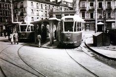 Cabecera de tranvías en la Plaza de la Cebada