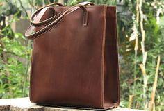 Chestnut----Handmade vintage rustic leather normal tote bag shoulder bag handbag for women